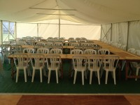 Trestle table seating in 9m x 15m