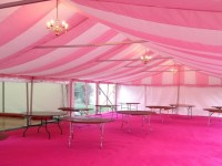 Pink and White lining in a 9m wide marquee