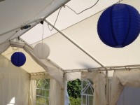 Blue and White Lanterns in 3m wide marquee