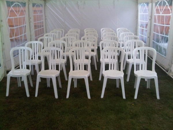Theatre style seating in a 4m wide marquee