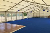 Inside a 9m x 18m marquee