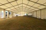 Inside a 9m x 30m marquee